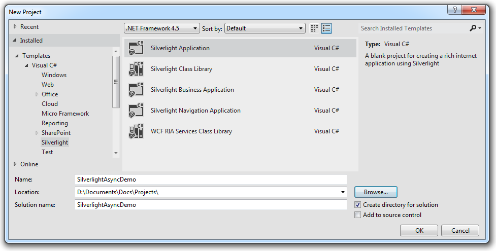 Using async and await in Silverlight 5 and  NET 4 in Visual Studio