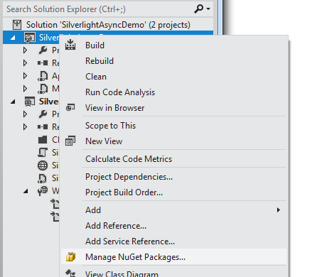 Using async and await in Silverlight 5 and  NET 4 in Visual