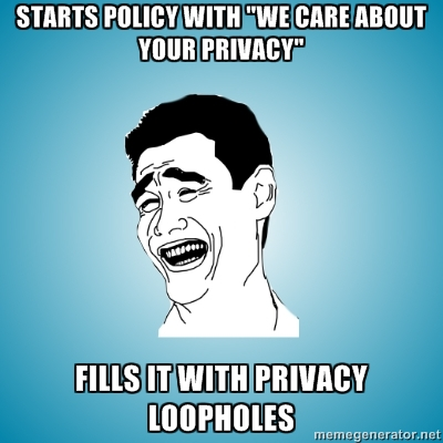Here at XYZ Co. we care about your privacy. So, here are three pages of legal ways we'll share your info with others.