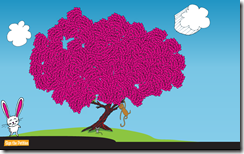 Full tree showing 5100 hearts in Silverlight