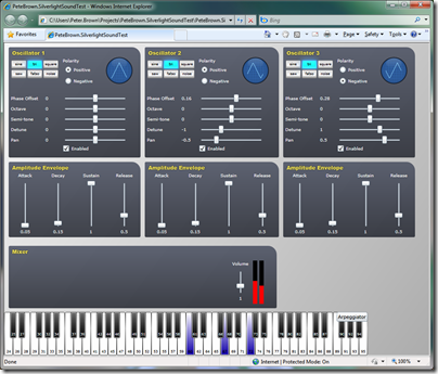 Silverlight sound synthesizer