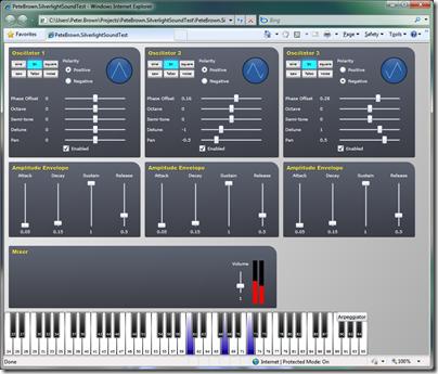 Silverlight sound synthesizer